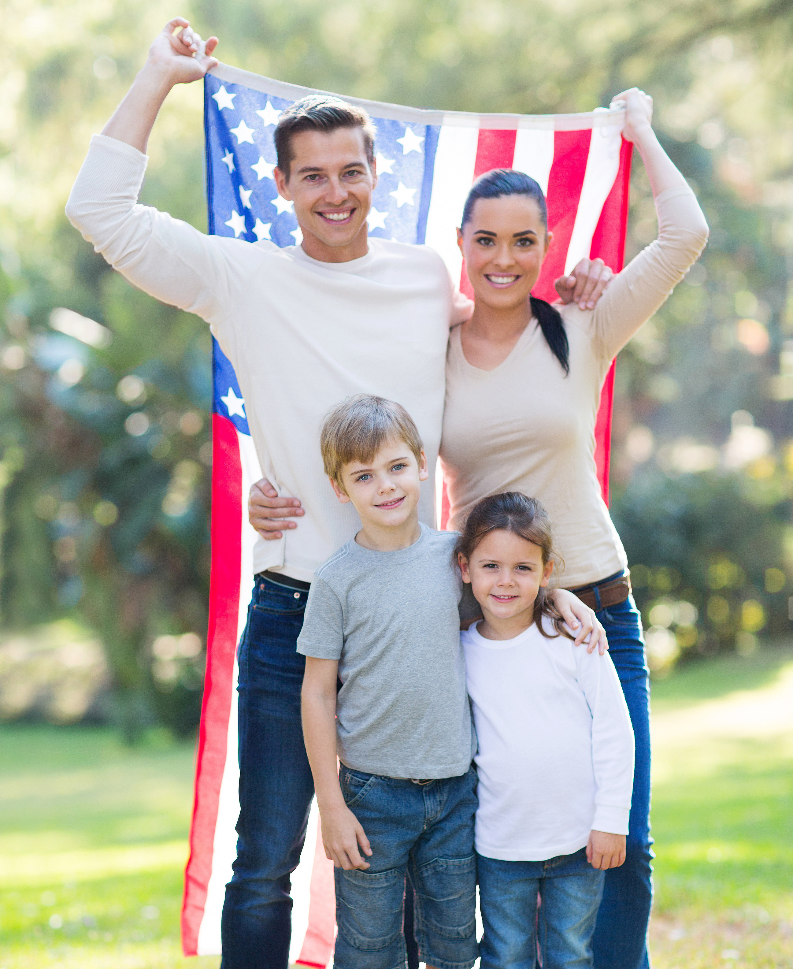 american family of four outdoors